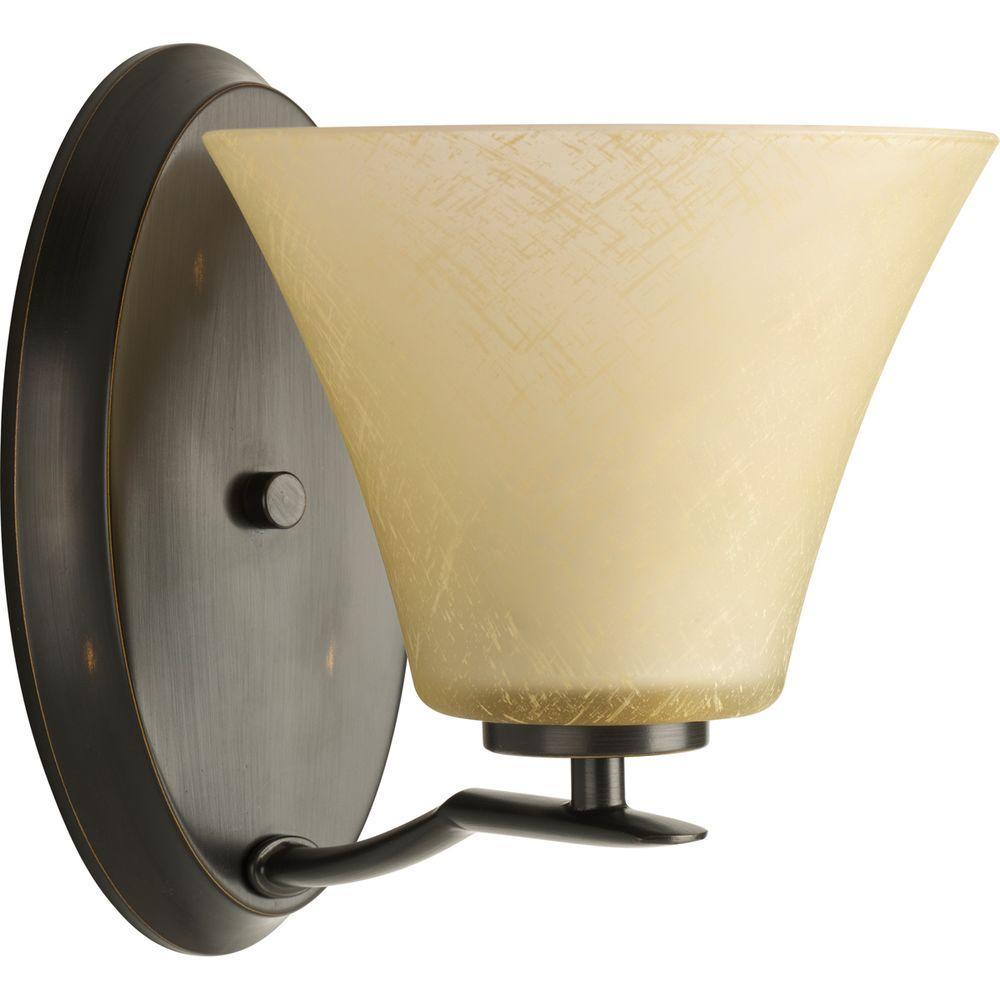 Progress Lighting Bravo Collection 1-Light Antique Bronze Bath Sconce with Umber Linen Glass Shade