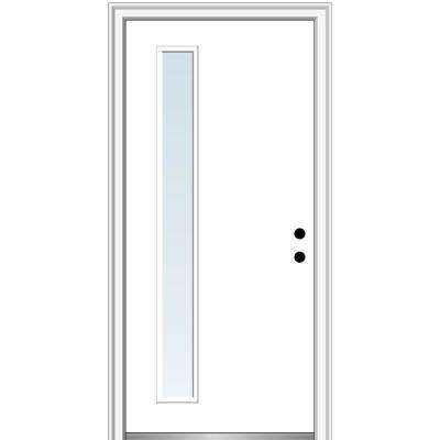 32 in. x 80 in. Viola Left-Hand Inswing 1-Lite Clear Low-E Modern Painted Steel Prehung Front Door on 6-9/16 in. Frame