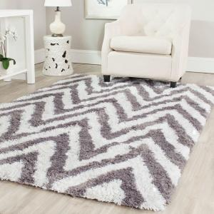 Safavieh Chevron Shag Ivory Gray 6 Ft X 9 Area Rug Sg250c The Home Depot