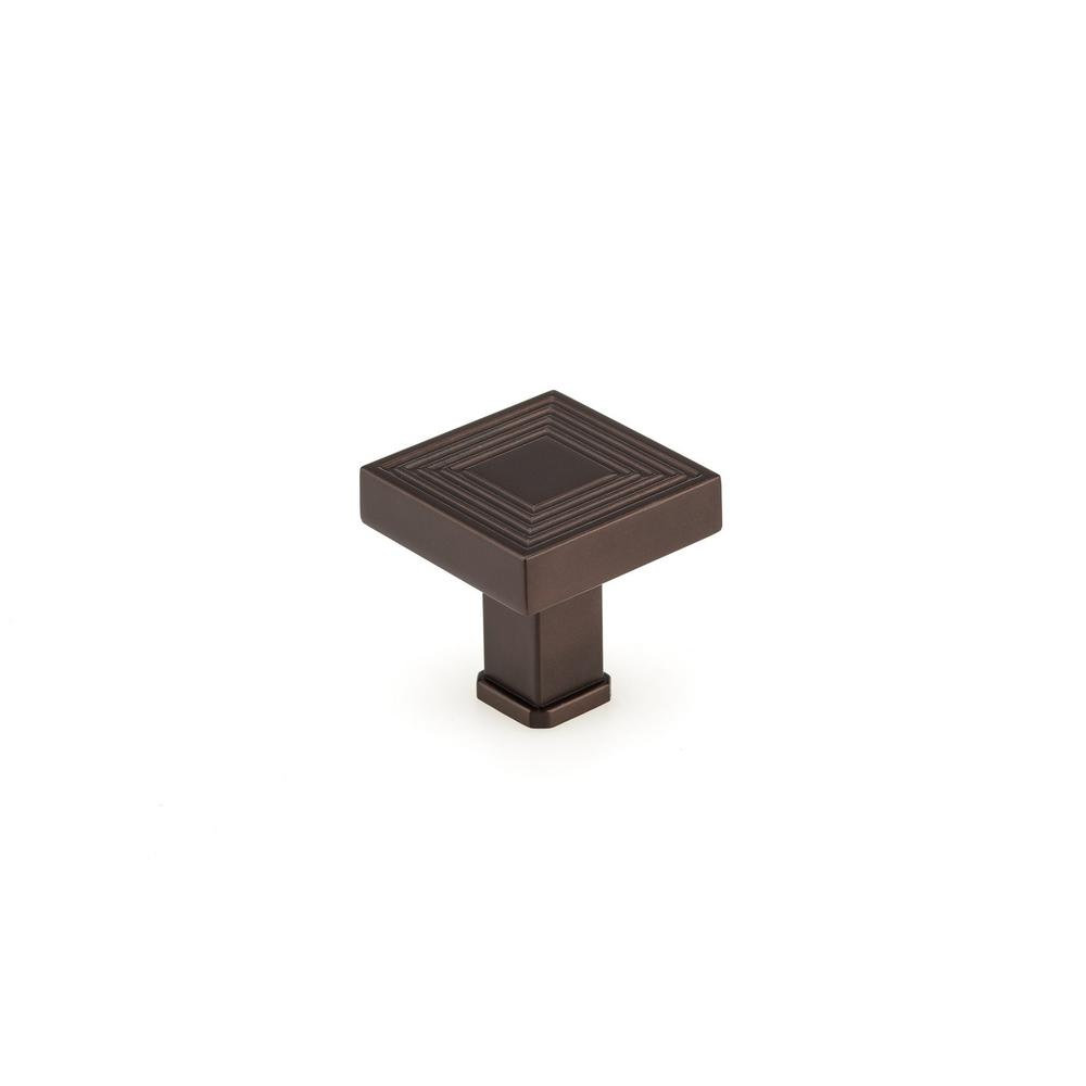 Richelieu Hardware 1-3/8 in. x 1-3/8 in. (35 mm x 35 mm) Honey Bronze Transitional Metal Cabinet Knob