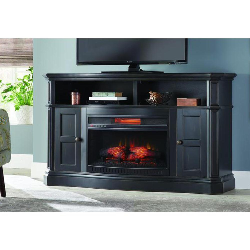 Perk up the look of your home with the Home Decorators Collection Glenrae Media Bow Front Console Infrared Electric Fireplace in Antique Black Finish.