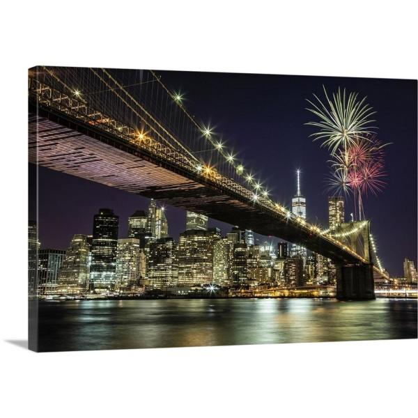 Fireworks Over The Brooklyn Bridge In New York City By Scott Stulberg Canvas Wall Art