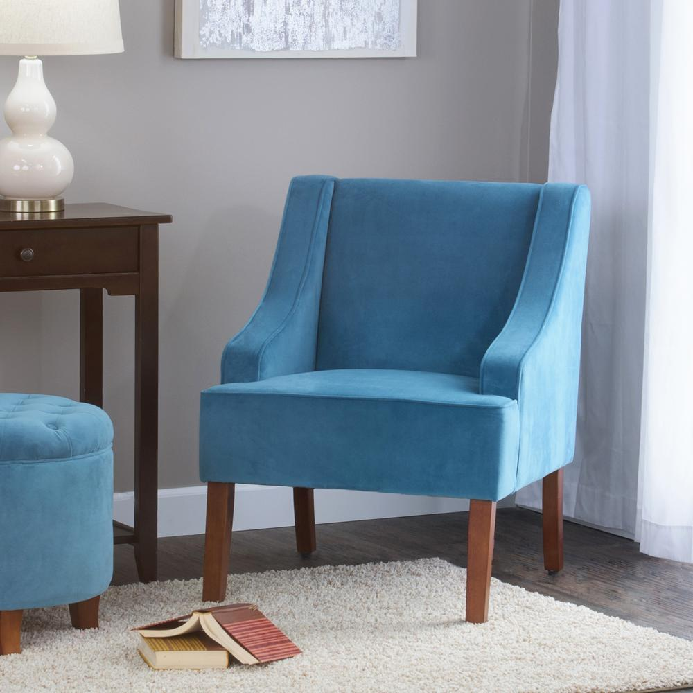 Homepop Swoop Arm Velvet Accent Chair Teal