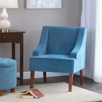 Swoop Arm Velvet Accent Chair Teal