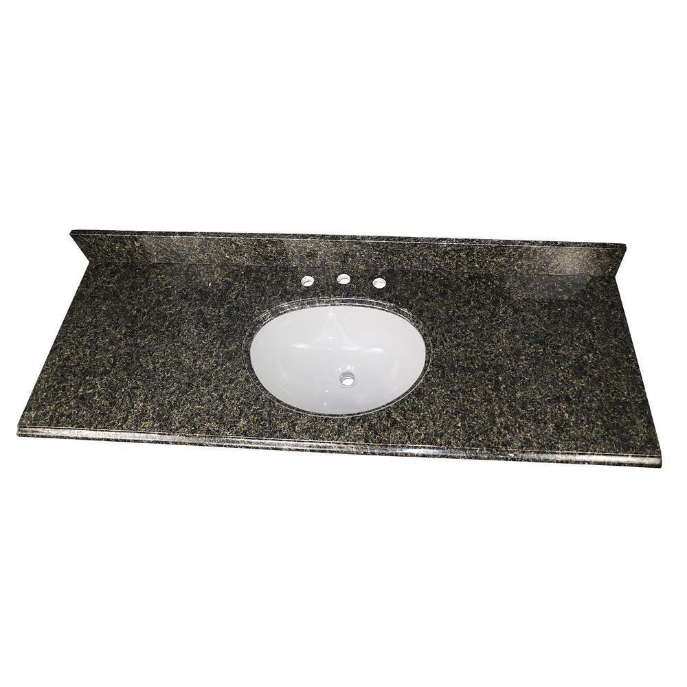 61 in. W x 22 in. D Granite Single Oval Basin Vanity Top in Uba Tuba with White Basin