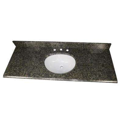 61 in. W x 22 in. D Granite Single Oval Basin Vanity Top in Uba Tuba with White Basin