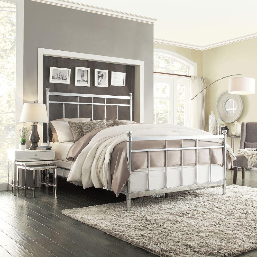 HomeSullivan Lawthrone Metal Queen-Size Bed in Chrome