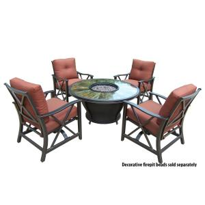 5-Piece Metal Patio Fire Pit Conversation Set with Red Cushions