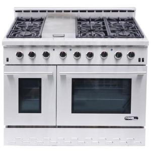 NXR Entree 48 inch 7.2 cu. ft. Professional Style Gas Range with Convection Oven in Stainless Steel by NXR