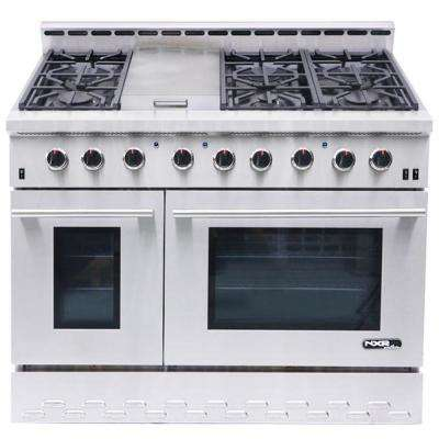 Entree 48 in. 7.2 cu. ft. Professional Style Gas Range with Convection Oven in Stainless Steel