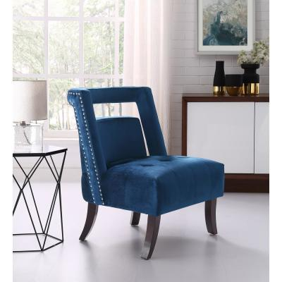 Salvador Navy Velvet Button Tufted Armless Slipper Chair with Open Back Style