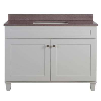 Lansbury 49 in. W x 22 in. D x 36 in. H Vanity in White with Stone Effects Vanity Top in Kaiser Grey with White Sink