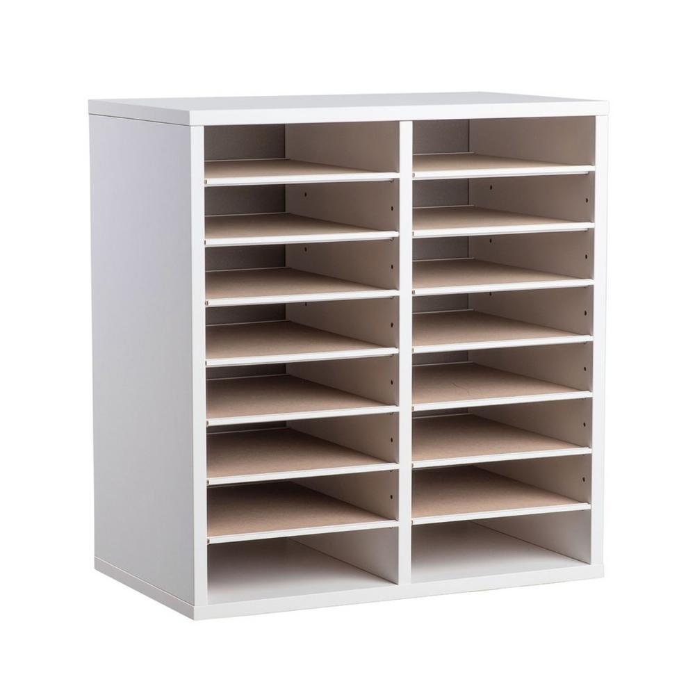 Wood Adjustable 16 Compartment Literature Organizer, White
