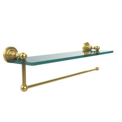 Dottingham 16 in. L  x 5 in. H  x 5 in. W Paper Towel Holder with Clear Glass Shelf in Polished Brass