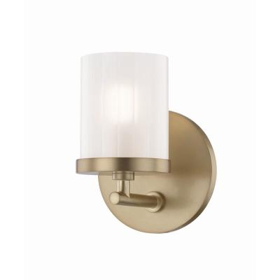 Ryan 1-Light Aged Brass Bath Light with Clear Frosted Glass Shade