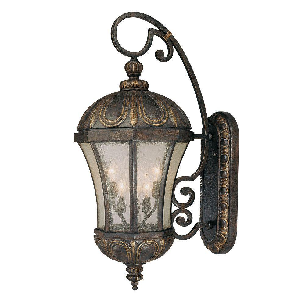 Illumine 6 Light Wall Mount Lantern Old Tuscan Finish Pale Cream Seeded Glass