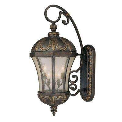 6 Light Wall Mount Lantern Old Tuscan Finish Pale Cream Seeded Glass