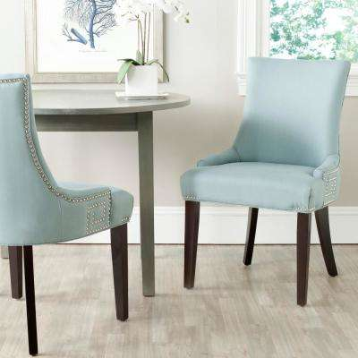 Gretchen Light Blue/Espresso Cotton/Linen Side Chair (Set of 2)