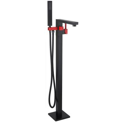 Single Handle Freestanding 35 in Bathtub Faucet Filler with Handheld Shower Head in Matte Black and Red