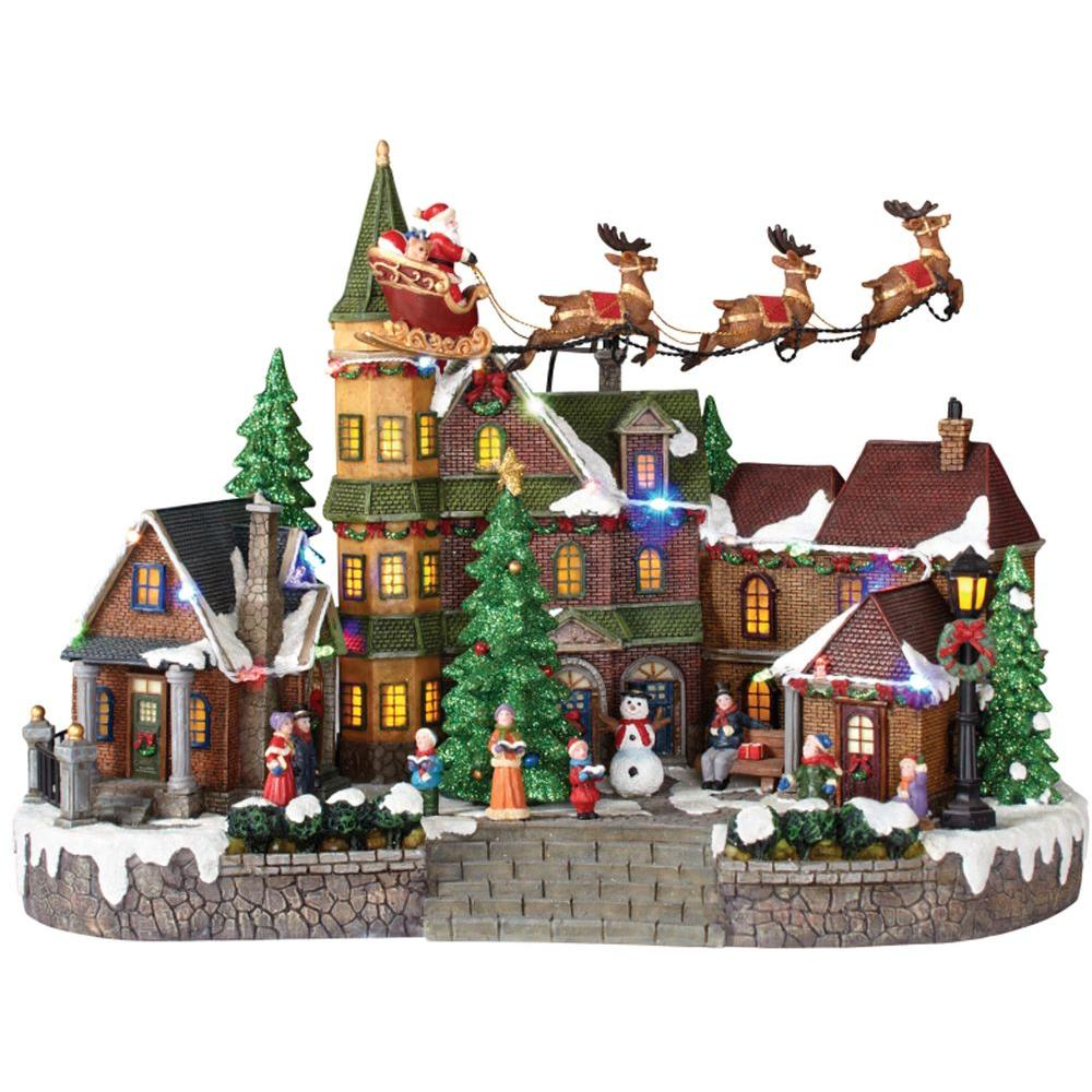 animated musical led village with santa sleigh - Animated Christmas Village