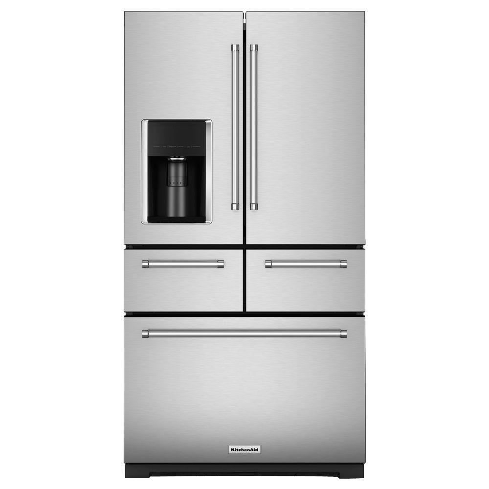 Kitchenaid 25 8 Cu Ft French Door Refrigerator In Stainless Steel With Platinum Interior