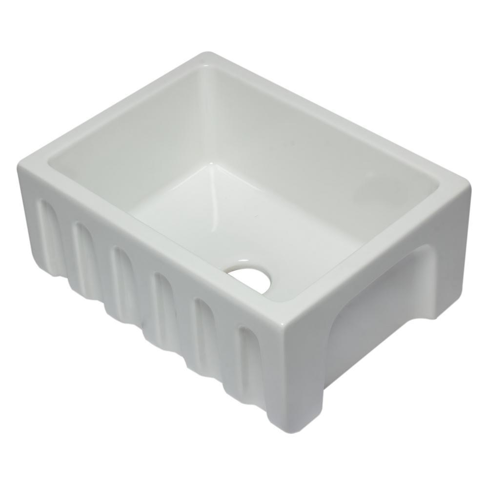 AB2418HS-W Farmhouse Fireclay 24 in. Single Bowl Kitchen Sink in White