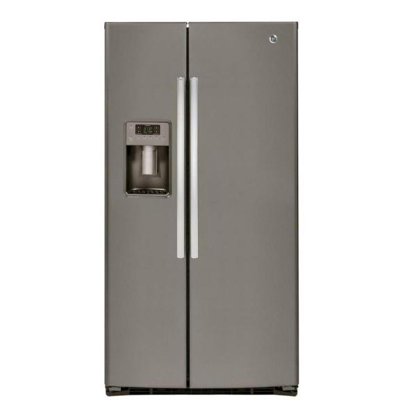GE 25.3 cu. ft. Side by Side Refrigerator in Slate, Fingerprint Resistant and ENERGY STAR