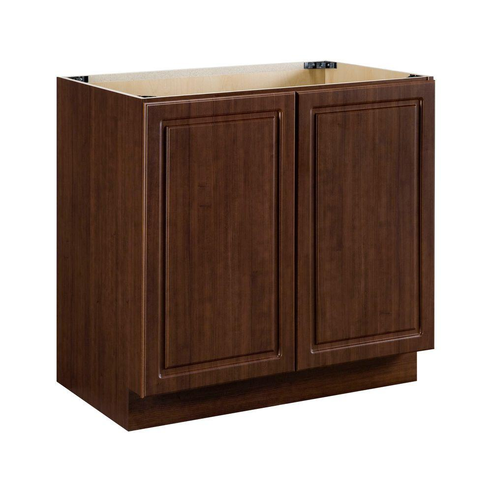 Heartland Cabinetry Heartland Ready to Assemble 36x34.5x24.3 in. Sink Base Cabinet with Double Doors in Cherry