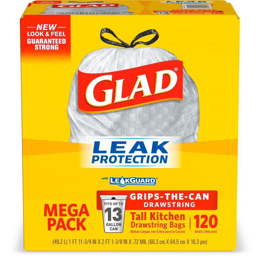 13 Gal. Grey Tall Kitchen Drawstring Trash Bags (120-Count)