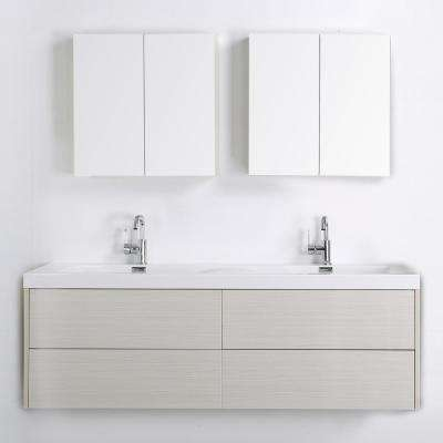 63 in. W x 19.4 in. H Bath Vanity in Gray with Resin Vanity Top in White with White Basin and Mirror