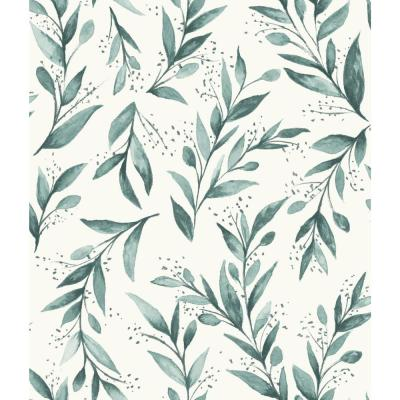 Olive Branch Teal Paper Peelable Roll (Covers 34 sq. ft.)
