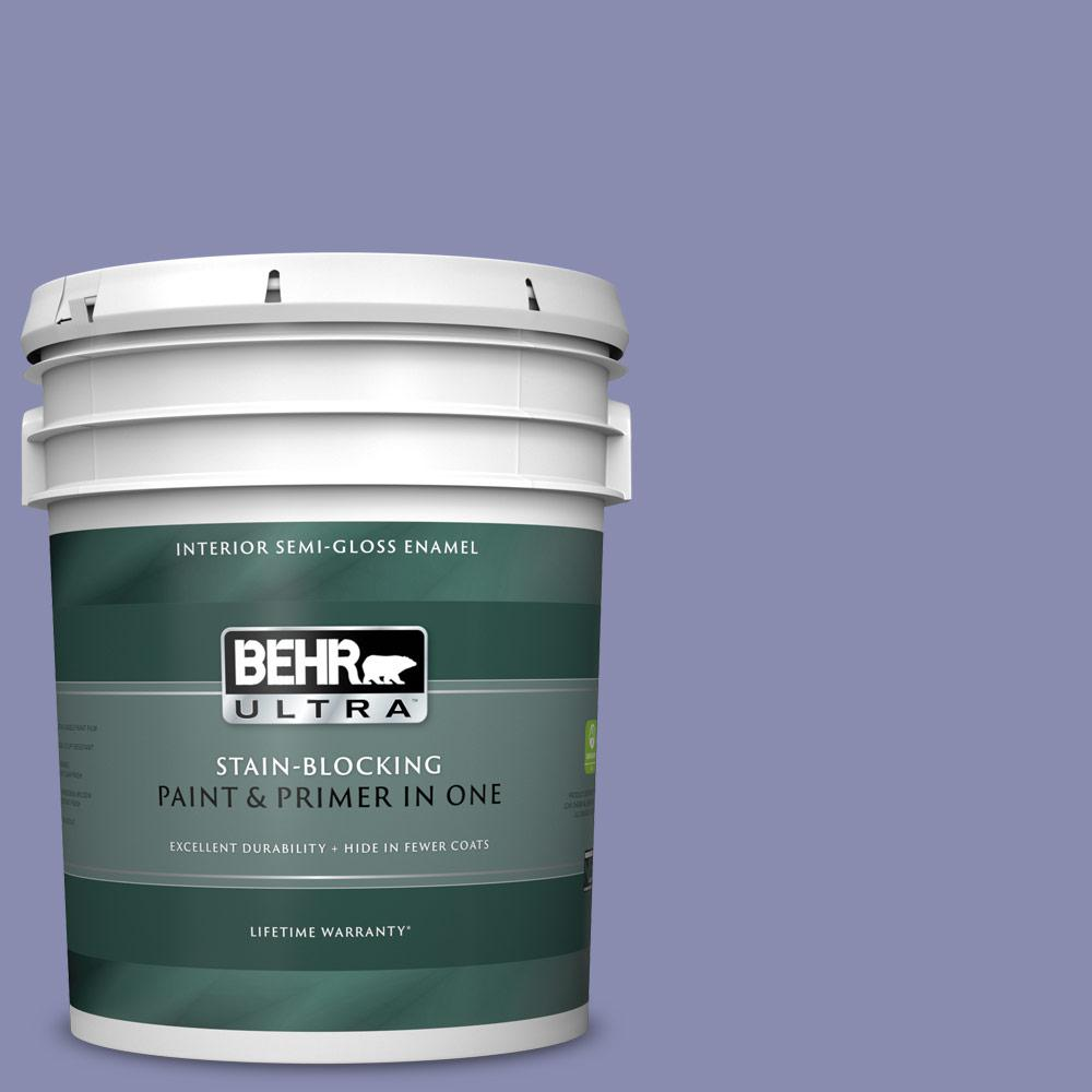 Behr Ultra 5 Gal M550 5 Violet Aura Semi Gloss Enamel Interior Paint And Primer In One 375405 The Home Depot