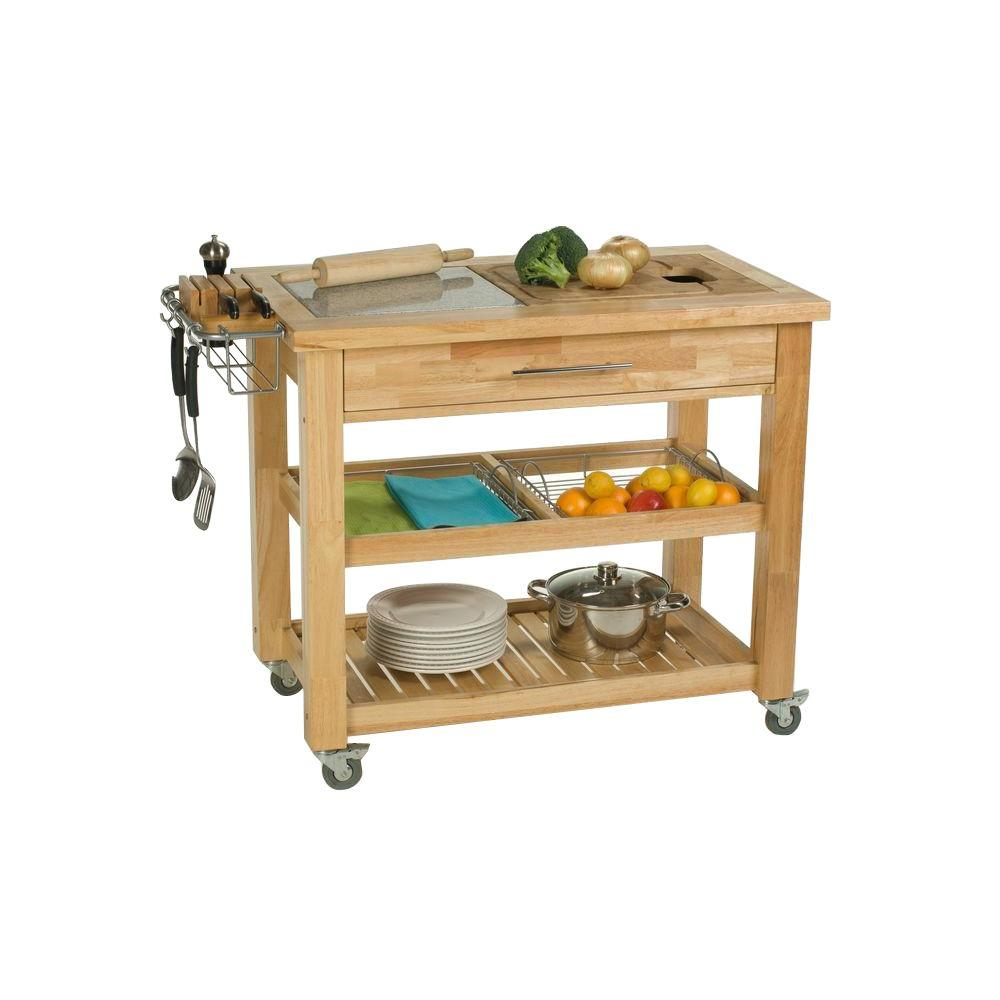 pro chef natural kitchen cart with chop and drop system - Kitchen Island Home Depot