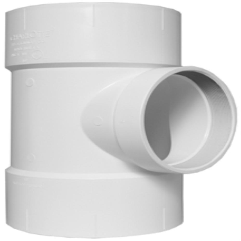 10 in. x 10 in. x 4 in. PVC DWV Flush Cleanout Tee