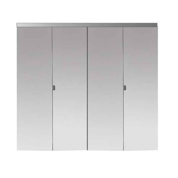48 in. x 80 in. Polished Edge Mirror Solid Core MDF Interior Closet Bi-Fold Door with Chrome Trim