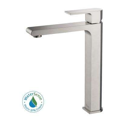 Danube Single Hole Handle Vessel Bathroom Faucet In Brushed Nickel