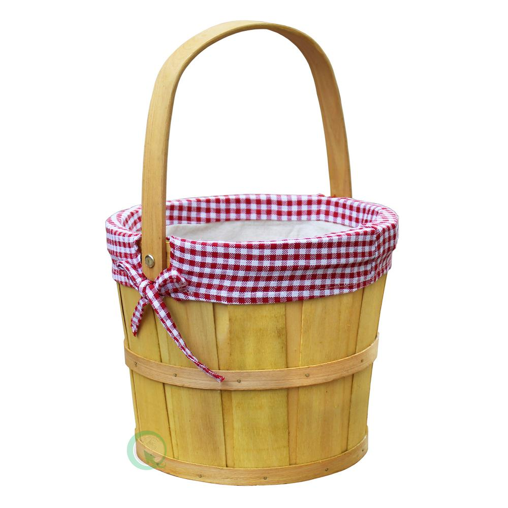 9 in. Dia x 7 in. high Woodchip Bushel Basket with Red Gi...