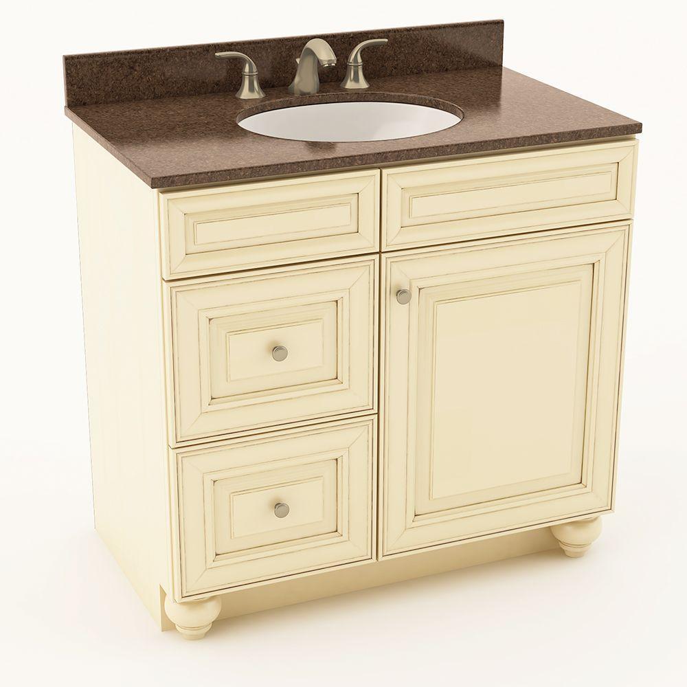 American woodmark savannah 37 in w x 20 3 4 in d bath vanity in hazelnut with quartz vanity for Savannah bathroom accessories