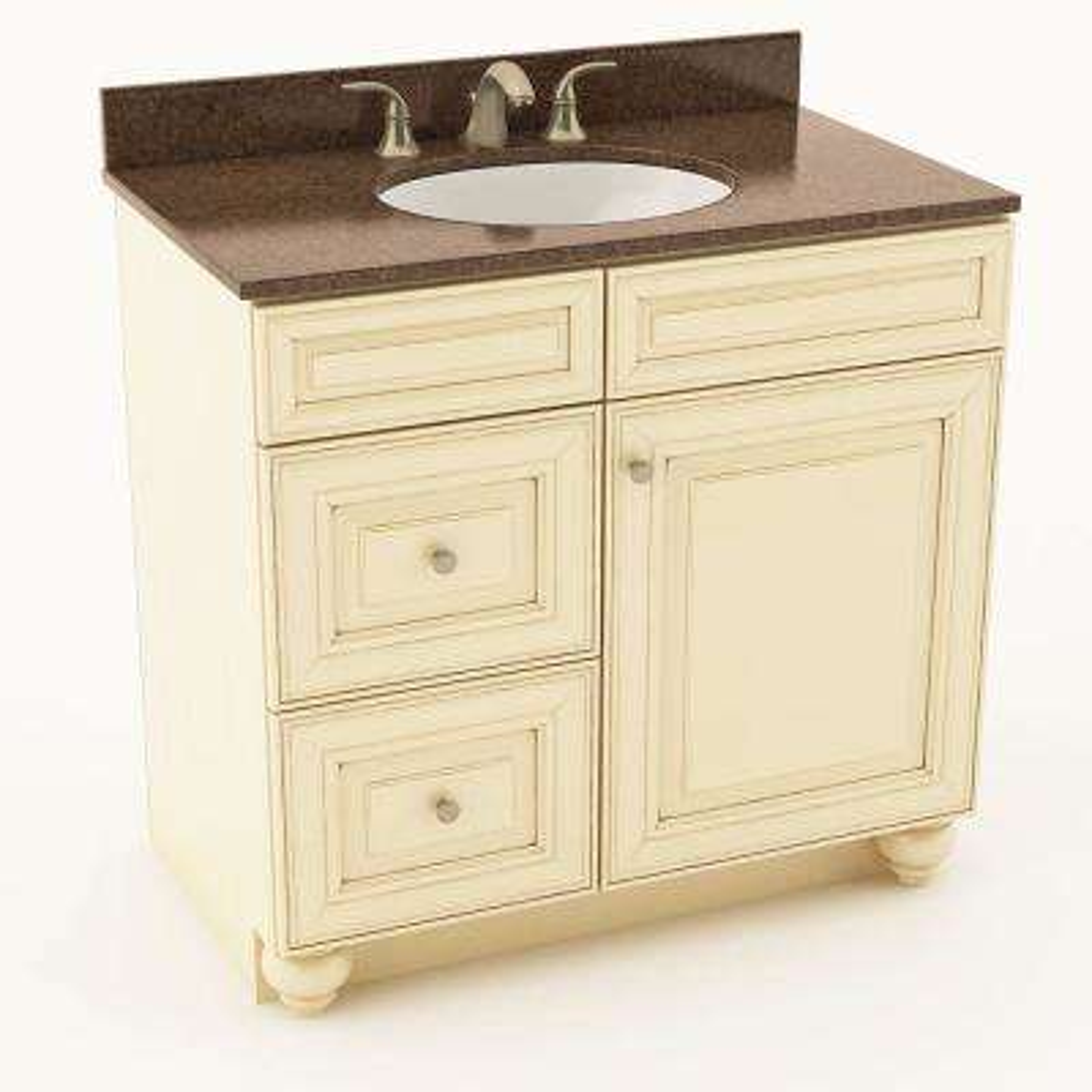 Savannah 37 in. W x 20-3/4 in. D Bath Vanity in Hazelnut with Quartz Vanity Top in Iron Bark with Oval White Basin