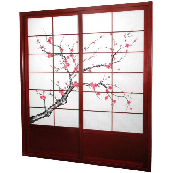 Oriental Furniture 7 Ft Rosewood Cherry Blossom 2 Panel Sliding Door Door Cblss Rosewood The Home Depot