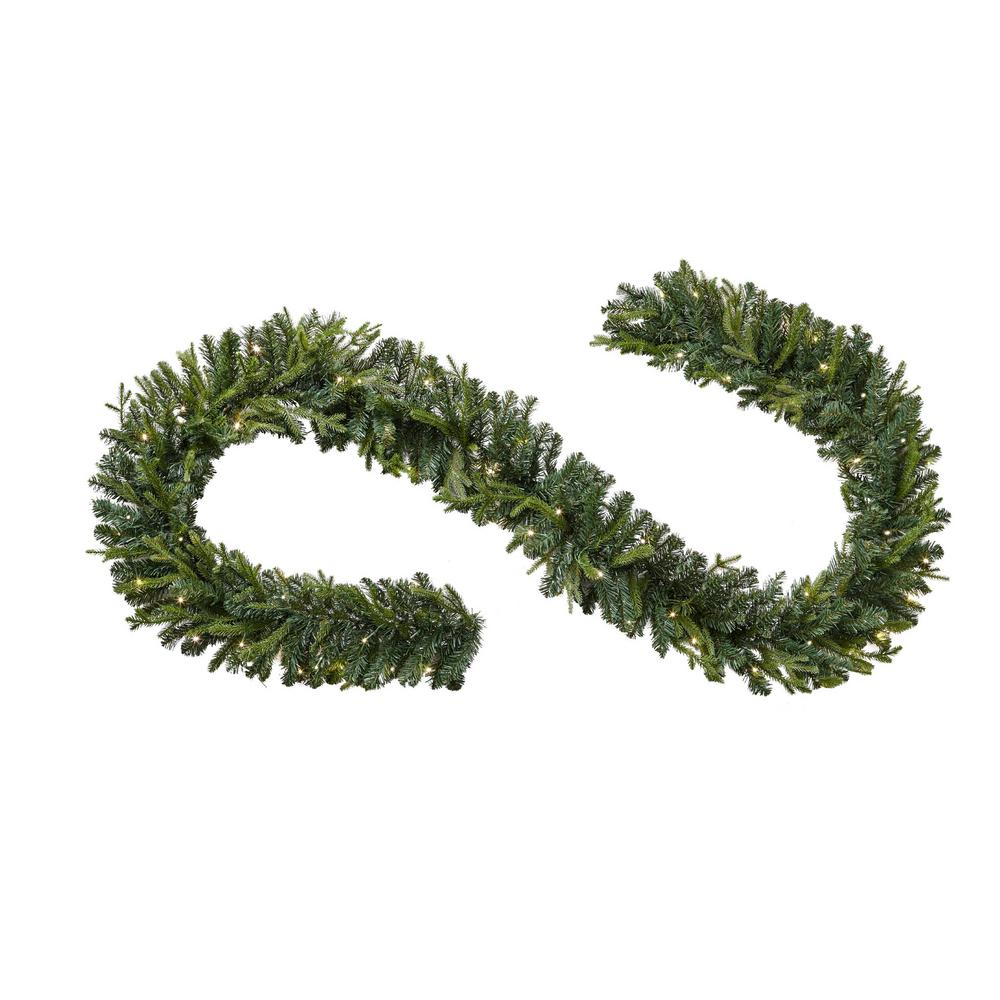 Home Accents Holiday 12 ft. Pre-Lit Norway Garland with Battery Operated Warm White LED Light