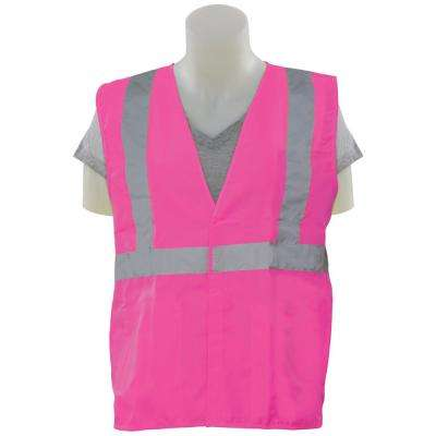 S725 MD Hi Viz Pink Poly Tricot 5-Point Break-Away Safety Vest