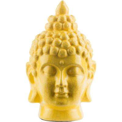 Hansh 7.9 in. x 12.6 in. Decorative Buddha Bust in Bright Yellow