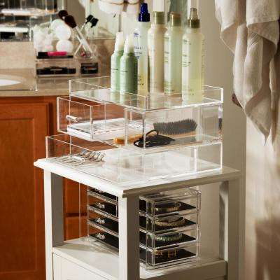 6.25 in W x 8.5 in D x 2 in H, Iced Half Acrylic Clear Jewelry Armoire Short Drawer