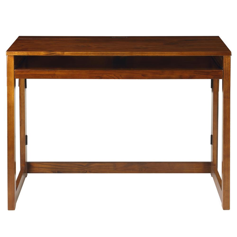 Warm Brown Folding Desk with Pull-Out and USB Port