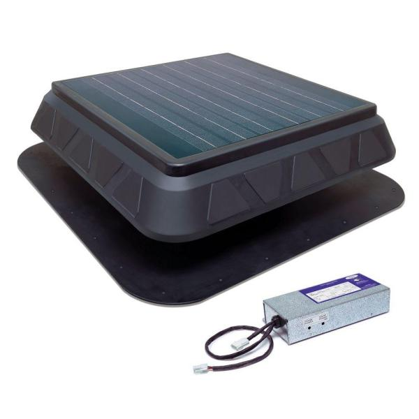 Master Flow 900 CFM Black Resin Hybrid (Solar/Electric) Powered Solar Attic Fan with Adjustable Solar Panels