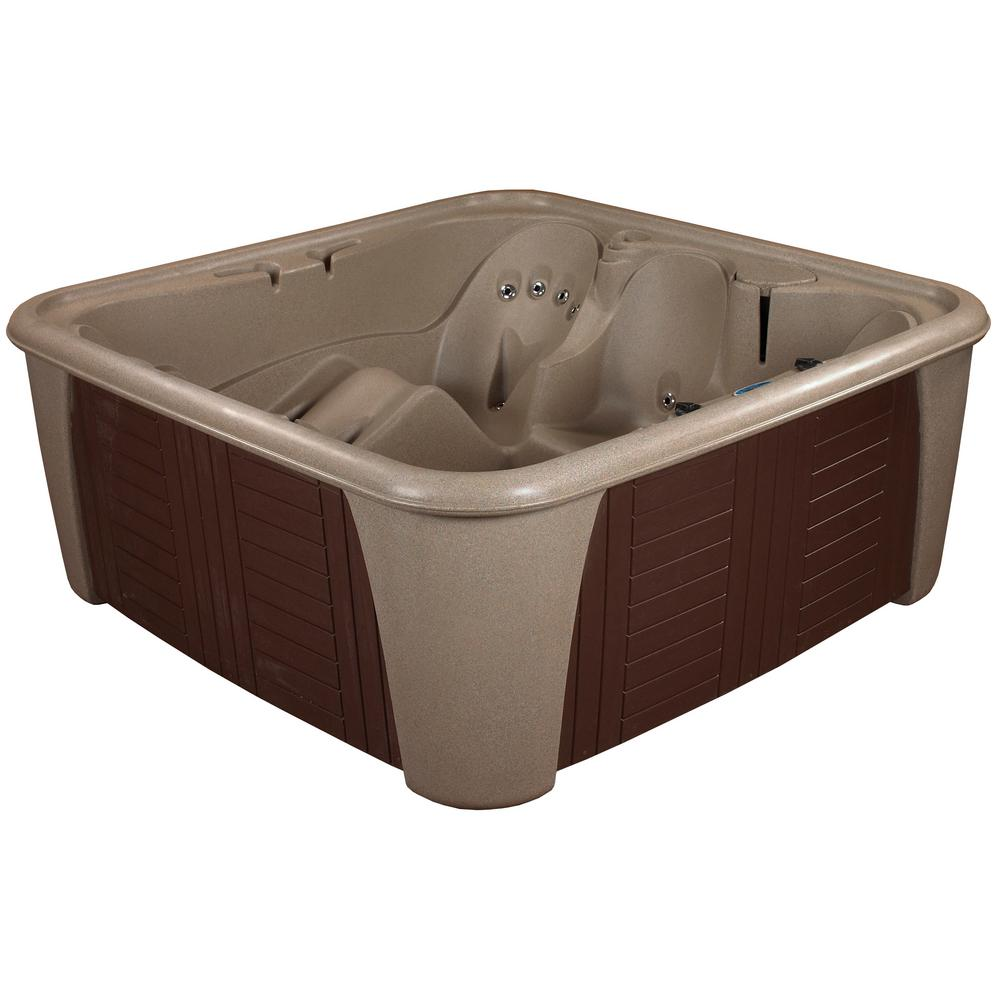 AquaLife Harbor 6 Person 24 Jet Standard Hot Tub Cobblestone With Lounger PLUG and PLAY