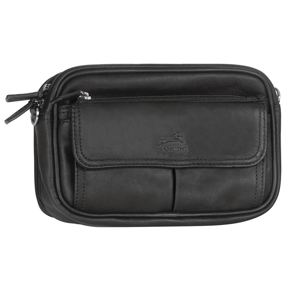 8 in. Compact Unisex Black Leather Bag