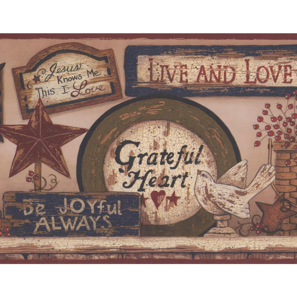 York Wallcoverings Religious Plaques on Brown Wall Vintage Prepasted Wallpaper Border