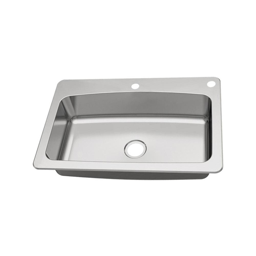Dual Mount 18-Gauge Stainless Steel 33 in. 2-Hole Single Bowl Kitchen Sink